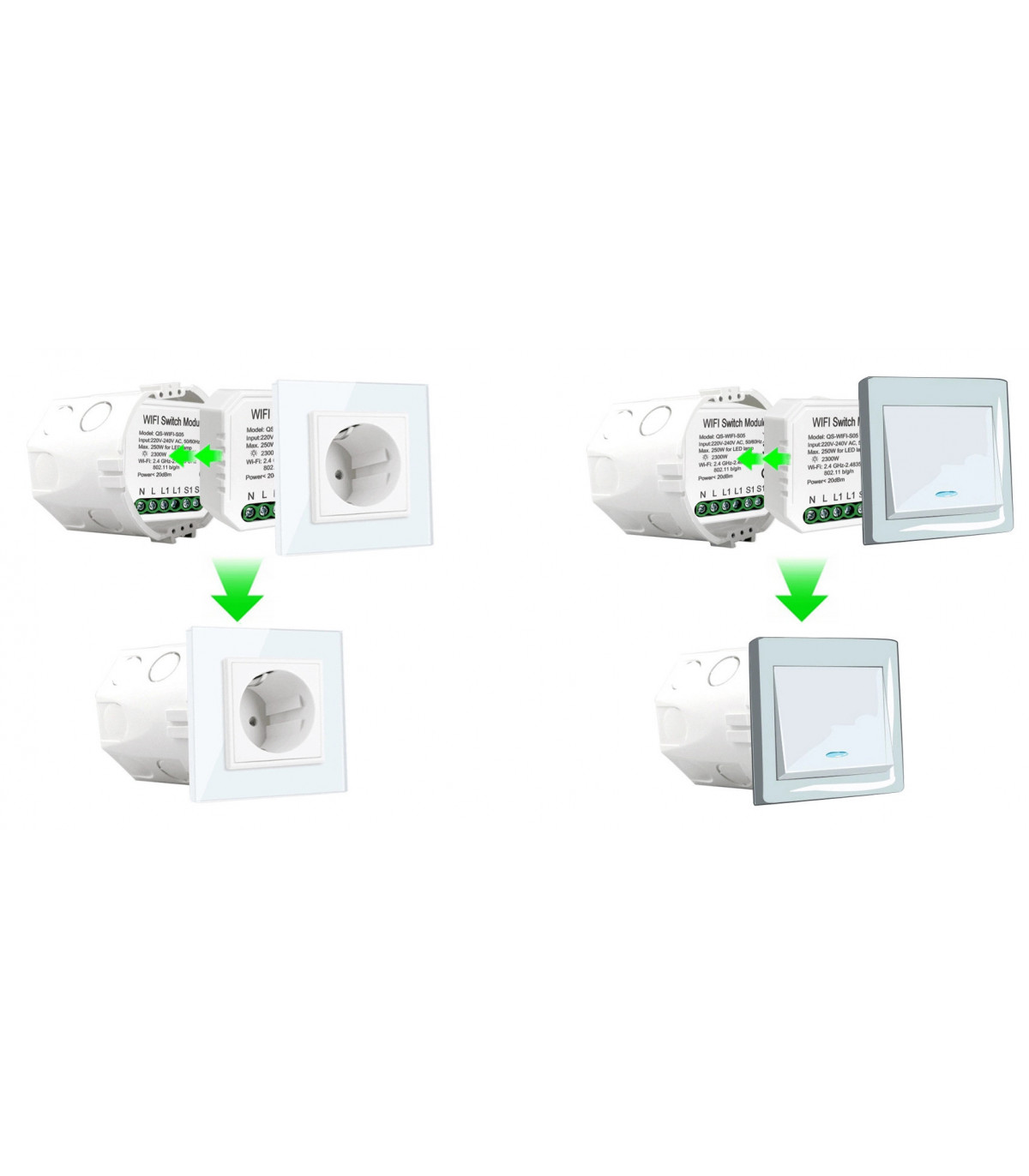 Przekaźnik WiFi do puszki 2300W TUYA