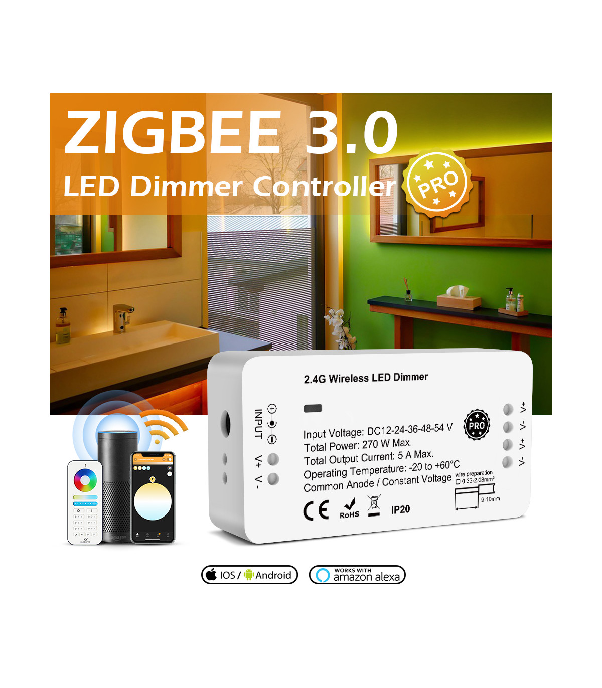 Ściemniacz ZigBee do pasków LED Philips Hue Tuya