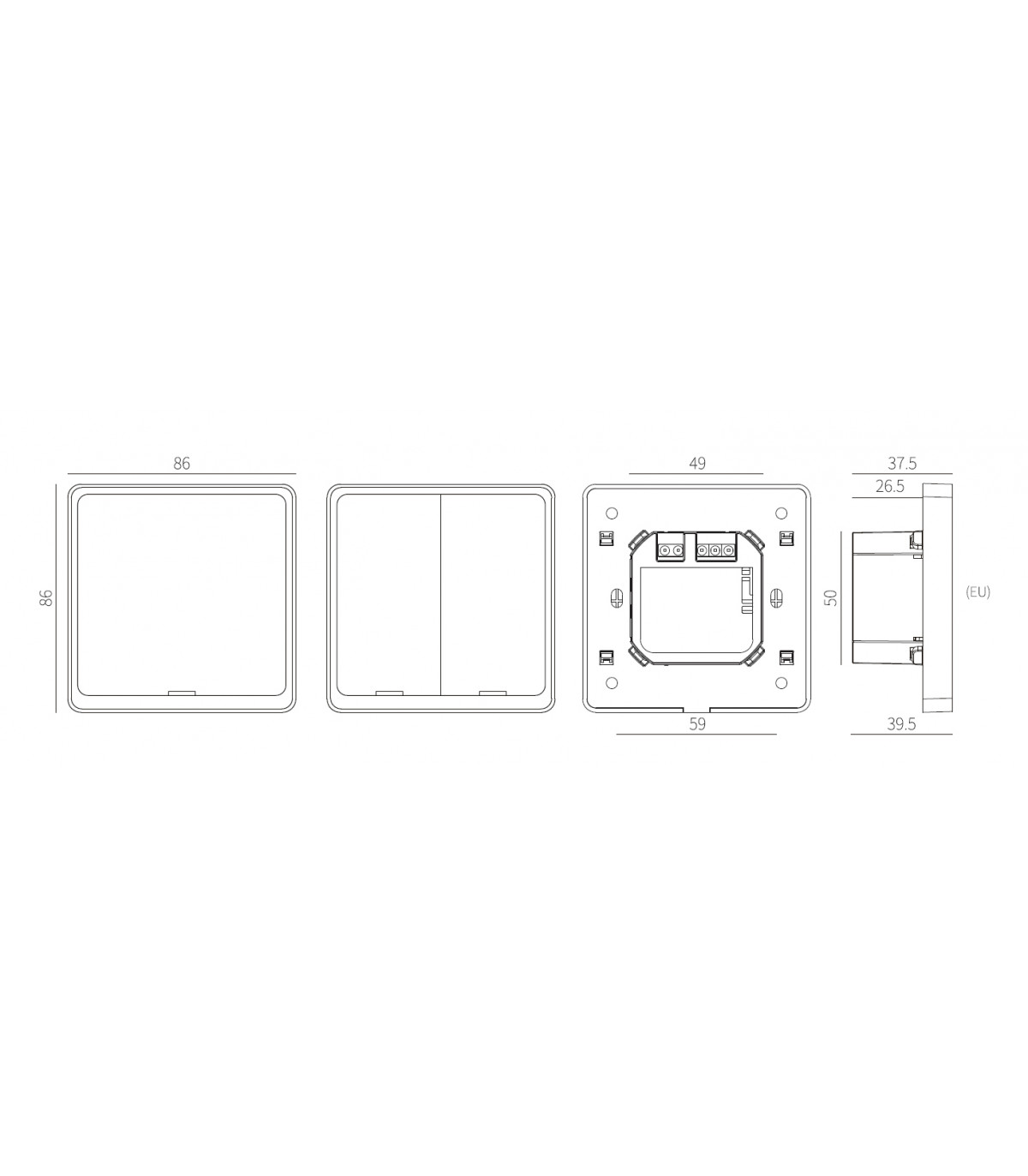 Podwójny włącznik ZigBee TUYA bez N z przekaźnikiem
