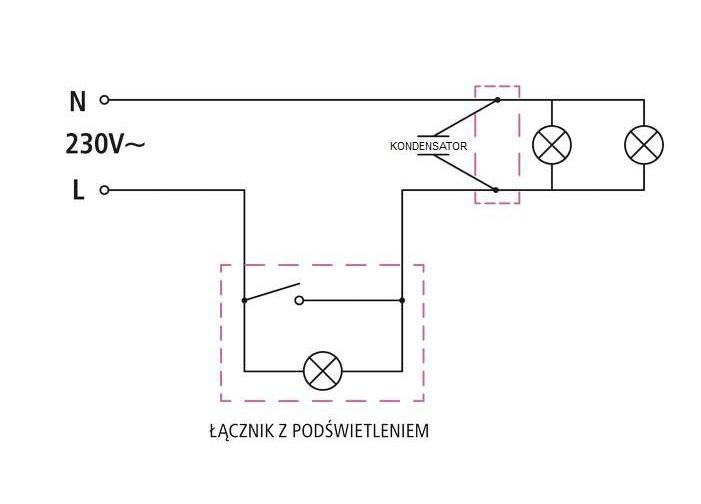 Kondensator dołączników podświetlanych